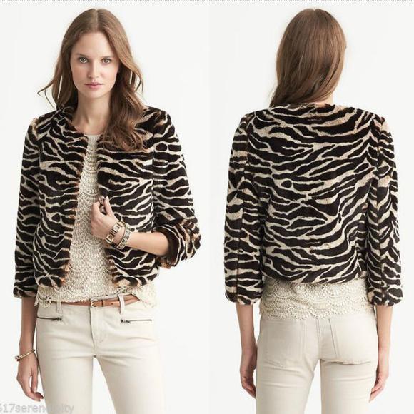 9d93cb509adc Banana Republic Jackets & Coats   Fauxfur Animal Print Jacket Xs ...